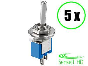 Sensell 5 Miniatur Kippschalter Subminiatur 2 polig Umschalter EIN-AUS Lötösen