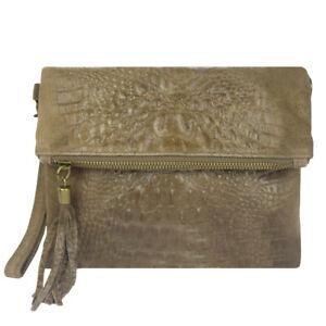 Italian Leather Croc Embossed Suede Khaki Tassel Clutch Bag For Ladies