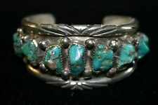 VINTAGE NAVAJO STERLING CUFF FREE FORM MORENCI TURQUOISE NUGGET SETTINGS