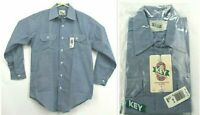 Vintage NOS Key Mens 15 1/2 Short No Iron Long Sleeve Blue Button Up Shirt