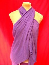 Purple knit scarf sarong wrap Shrug shawl Halter Tie Top Beach cover up Holiday