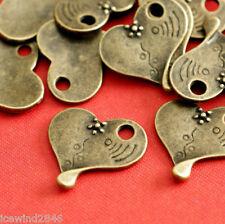 Sale 10pcs Antique Brass Heart with Flower Pendants