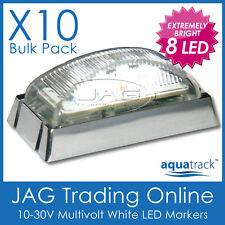 10 x 8-LED WHITE CLEARANCE LIGHTS/MARKER LAMPS - TRAILER/TRUCK/CARAVAN/BOAT-CHRM