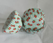 100 Cute red strawberry turquiose cupcake liners baking paper cup muffin cases