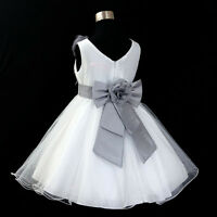 Gr668 Grey White Wedding Party Bridesmaid Flower Grils Dresses AGE SIZE 1 to 12Y
