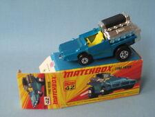 Lesney Matchbox Superfast neumático Freidora Hot Rod Azul Cuerpo En Caja Retro 70's