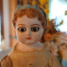 Antique Paper Mache ? German Doll Head Blonde Stuffed Body Big Glass Eyes