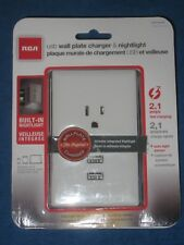 RCA WP2UNLW  Dual Outlet USB Wall Plate Charger & Nightlight , White, New!