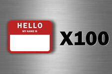 100x sticker hello my name is red adhesive labets tags badges identification