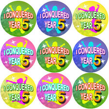 144 I Conquered Year 5 - End of Term 4th grade Teacher Reward Stickers Size 30mm