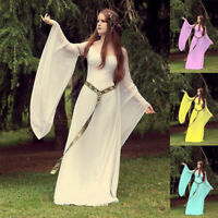 Medieval Women Vintage Long Sleeve  Party Gown Dress Halloween Cosplay Costume