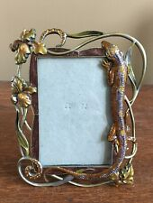Beautiful Rhinestones Lizard and Flowers Easel Back Picture Photo Frame