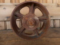 Small Wheel Cast Primitive Shop Barn Garage Antique FARM apx 5.25""