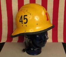 Vintage Firefighters Yellow Helmet Firemans No.45 Fire Dept.Turnout Gear Nice!