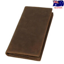Vintage Men Real Leather Long Clutch Wallet Bifold Silm Purse ID Card Coin Hold