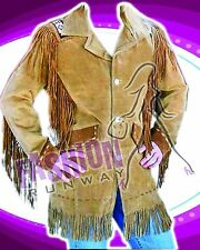 Men Suede Leather Western Jacket-Coat with Fringe and Bead Sizes: XS - 6XL