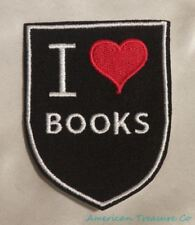 Embroidered Retro Vintage Style I Love Books Reading Black Patch Iron On Sew USA