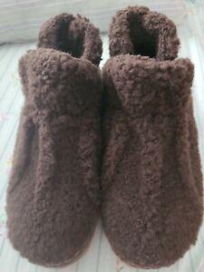 L.L. Bean NWOT Brown Wool Cozy Slipper Bootie Shoes Womens Size 7M