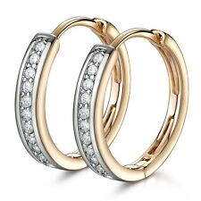 18K Gold Platinum Filled Swarovski Crystal GORGEOUS Engagement Hoop Earrings