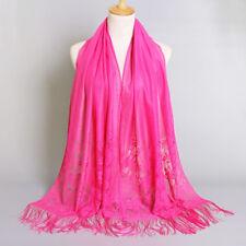 Elegant Women Floral Lace Scarf Shawl Tassels India Arab Muslim Hijabs Scarves