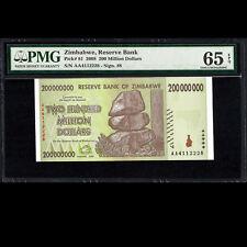 Zimbabwe Reserve Bank 200,000,000 Dollars 2008 PMG 65 GEM UNCIRCULATED EPQ P-81