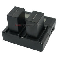 LCD Dual Charger +2x Battery for Sony NP-FH100 NP-FV100 DCR-HC96E HDR Camcorder
