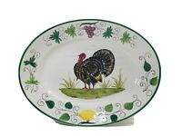 """Vintage Hand Painted Turkey Platter Made In ITALY 18""""x14"""" Thanksgiving Holiday"""