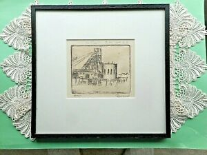 """AUST. PRO HART ORIG.""""ZINC CORP B. H"""".""""PROOF. TO DAVID"""" ETCHING SIGNED FRAME 1980"""