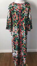 Vintage 1960s 70s Muu Muu Psychedelic Maxi Dress Robe Cover Geometric Acrylic