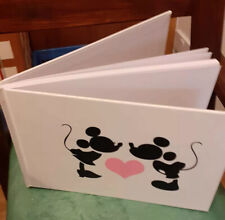 A5 32 Page Hand Finished Mickey & Minnie Mouse Kissing Plain Paper Guest Book