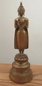 "Antique Thai gilt wood standing buddha statue 10.5"" Calming the Ocean"