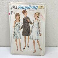 Simplicity Sewing Pattern 6784 Women's Dress Sz 12 One Piece Slip Uncut 1966