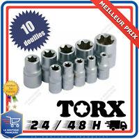 Jeu de 10 Douilles Femelles Torx Clé étoile E4 à E18 Outil Bricolage Mécanique