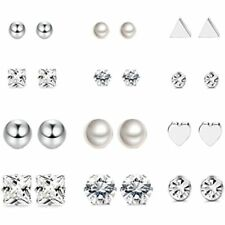 Set For Womens Clear Cz Jewelry 12 Pairs Stainless Steel Earrings Stud
