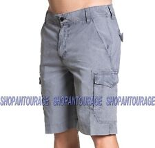 Affliction Wallace 110WS154 Men`s New Grey Light weight Fashion Cargo Shorts