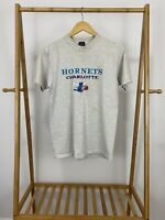 VTG Charlotte Hornets NBA Embroidered Graphic Single Stitch T-Shirt Size M USA
