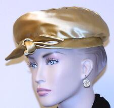 vintage woman's HAT JUNIOR DRESS SHOP GOLD RAISED BERET FANCY CROWN BOW sassy
