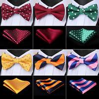 Mens Ties Fashion Polka Dot Pre Tied Silk Bow Tie Handkerchief Set Wedding