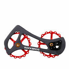 RockBros Carbon Fiber Red Rear Derailleur 17T Ceramic Bearings Guide Wheel