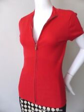 EVENTS NEW Red Zip Front Short Sleeve Stretch Knit Top Size Small - Medium