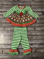 Girls 24 Month Counting Daisies Boutique Style Christmas Red And Green Outfit