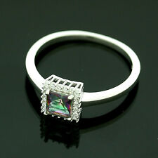 Sterling Silver Cubic Zirconia Micro Pave Set Mystic Topaz Ring Size R1/2
