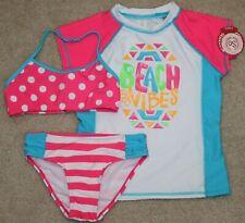 New! Girls So 3 pc Swim Set Bikini Swimsuit + Rashguard Pink/White 5-6 Msrp:$46