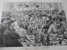 Gravure 1882 - Le Banquet des ouvriers Mineurs de Saint Etienne