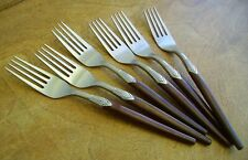 Set 6 Vintage Rare Viners Polynesian Cutlery Dessert Forks Wood Effect 1970s