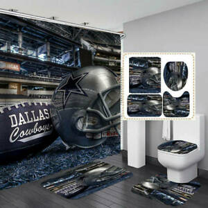 Dallas Cowboys Bathroom 4PCS Bath Mats Rug Shower Curtain Toilet Lid Cover Gifts