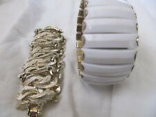 Tone One White Lucite Two Fashion Bracelets One Gold