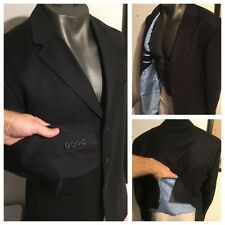 Nautica Charcoal Pinstripe 3 Btn Suit Jacket Blazer 46 L Wool /Baby Blue Lining