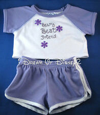 BUILD-A-BEAR PURPLE SHORTS & TOP SET BBF BEARY BEST FRIEND TEDDY CLOTHES OUTFIT