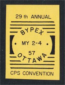 Ottawa Canada Bypex 57 Stamp Show Imperf Label Squared Circle Cancel 1957